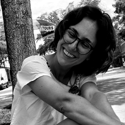 black and white image of woman smiling