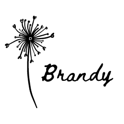 """black line illustration of dandelion gone to seed, seeds are hearts, and """"Brandy"""" in black handwritten font"""